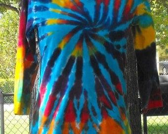 Tie Dye Women's 3/4 sleeve V-Neck Turquoise Rainbow Swirl T Shirt