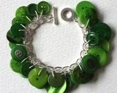 Button Charm Bracelet Lush Emerald Greens