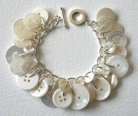 Button Bracelet White Wedding