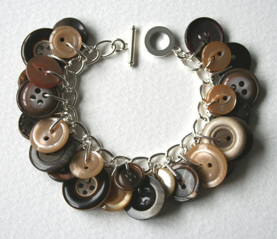 Button Charm Bracelet 1970s Mink and Chocolate Brown