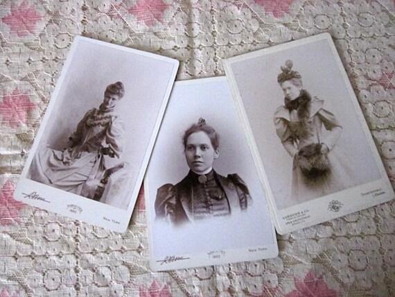 SALE 3 Antique Photos/Cabinet Cards fashionable women