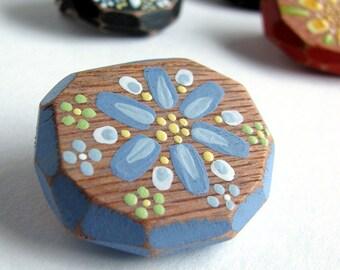 Blue Flower Brooch, Geometric Wood Jewelry, Faceted Wood Pin, Folk Painted Flower, Reclaimed Oak