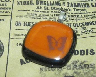 Sepia Butterfly Fused Glass Pendant Black Orange Tan Brown