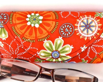 Eyeglass Case - Sunglass Case - Magnetic Closure - Orange - Floral - Gifts under 15 - Gifts for Women