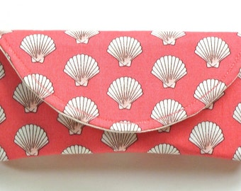 Fabric Eyeglass Case with Magnetic Closure in Coral Shells