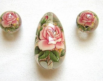 New Lovely Japanese Tensha Beads Single PINK ROSE CLEAR Drop Set