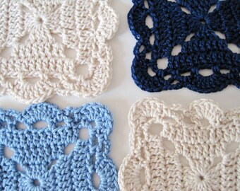 Granny Square Coasters in Beach Cottage Blues & Ecru - Crocheted Shabby Chic Cotton Lace Mini Doilies for Drinks or Crafts - Navy, Sky, Ecru