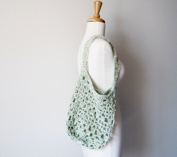 Emerald Green and Cream Farmer's Market Bag Boho Garden Tote Rustic Cottage Chic Vintage Inspired - Medium Produce Tote - Sale