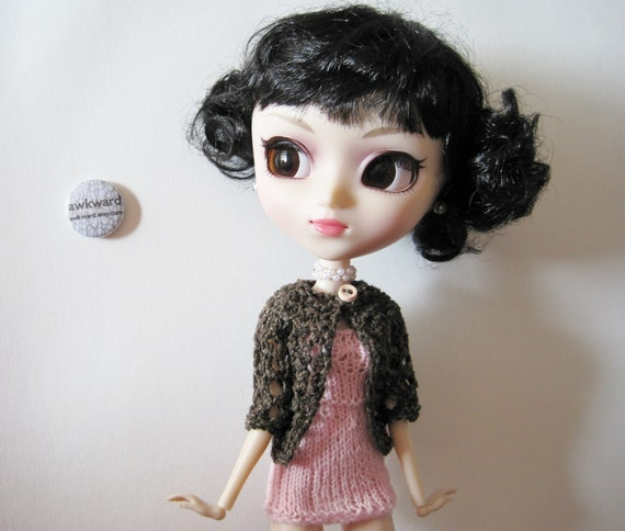 Orchard Cardigan in Silk - Woodland Brown Handknit Lace Sweater for Pullip Scale Dolls with Free Chemise in Cherry Blossom Pink