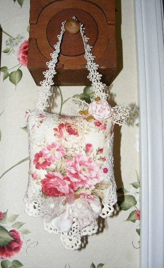 Pink Rose Country Shabby Chic Shelf Sitter or Hanging Sachet Pillow