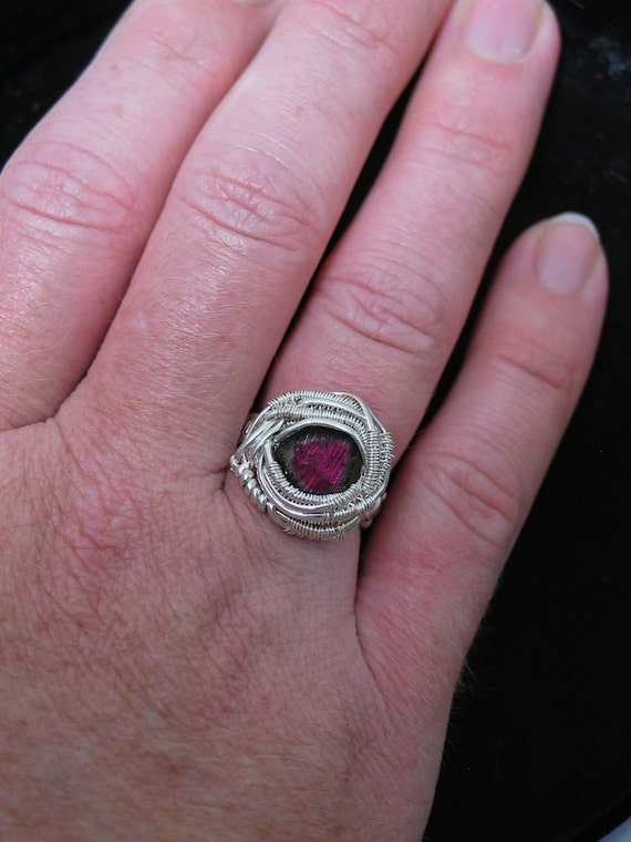 Wire Wrapped Ring Watermelon Tourmaline Size 6.5