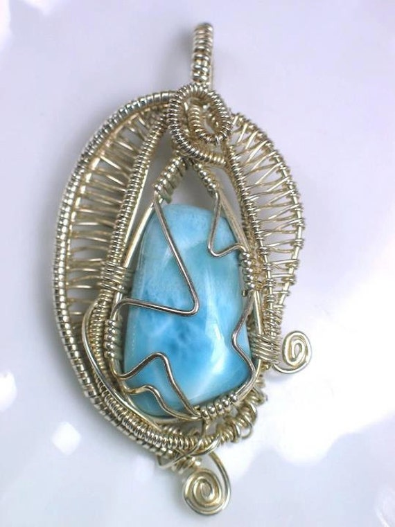 Larimar wire wrapped pendant sterling silver