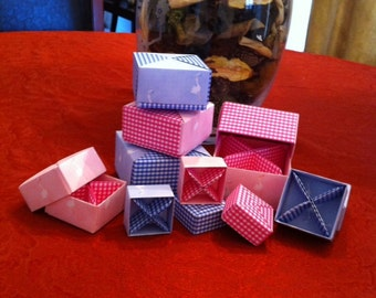 4 Paper Origami Square Stacking Boxes with Removable Compartments- BABY Pink or Baby Blue