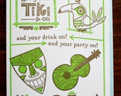 Happy Birthday Tiki Letterpress Printed Card