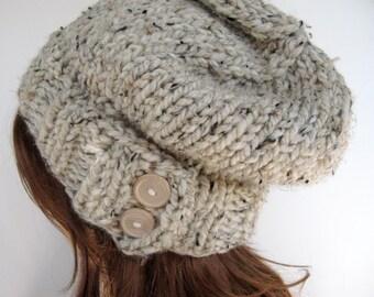 Slouchy Knit Hat, Cloche Hat, Chunky Wool Hat / KEYSTONE / Oatmeal