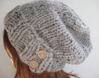 Slouchy Knit Hat, Cloche Hat, Chunky Wool Hat / KEYSTONE / Grey Marble