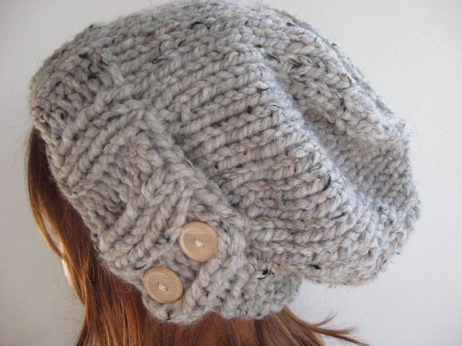 Chunky Knit Hat Pattern Free : Knit Hat Women Knit Hat Slouchy Knit Hat Chunky Knit Wool