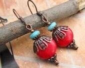 red earrings Southwest earrings  Boho Bohemian jewelry fashion