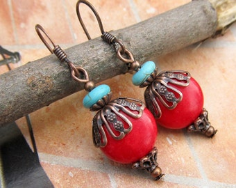 red earrings Southwest earrings  Boho Bohemian jewelry fashion