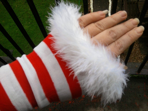 christmas grinch GLOVES arm warmers RED white candy cane stripe sexy santa pin up fifties