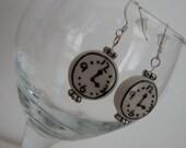 Porcelain Clock Bead Pierced Earrings