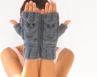 Owl  Blue Fingerless Gloves - Mittens