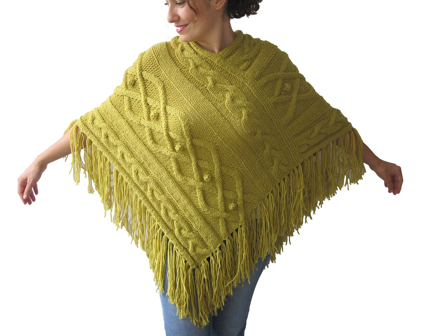 Knitting Patterns Plus Size : Citrine cable knit poncho by afra plus size over