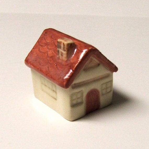 Hand Built and Hand Painted Porcelain  Miniature House, One-of-a-KInd
