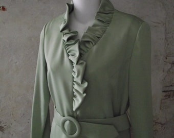 1960s Marcy Allen Dress Grasshopper Green Ruffle Front Dress