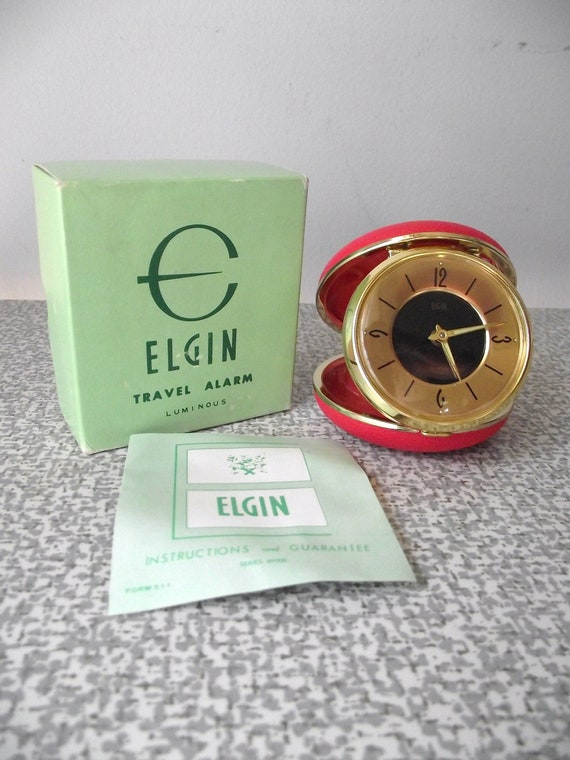 Travel Alarm Clock BELL Ringer Vintage Elgin New In Box Coral Red and Gold