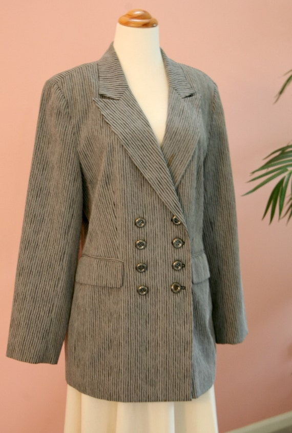 Long Black and Grey Striped Double Breasted Blazer Size 10. Ladies Blazer, Dressy Blazer, Striped Blazer, Double Breasted