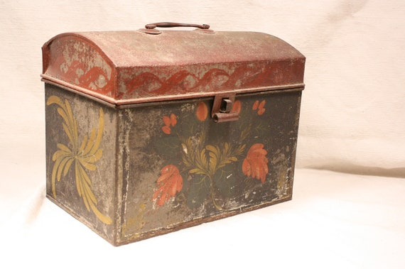 Antique Tin Tole Painted Document Box