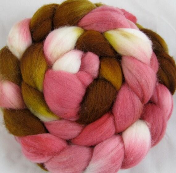 Merino - Hand Painted Wool Top 4 oz. - Strawberry Caramel