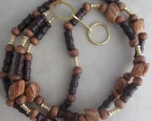 Brown Wood and Gold Beaded Lanyard Badge ID Holder - missvalscreations