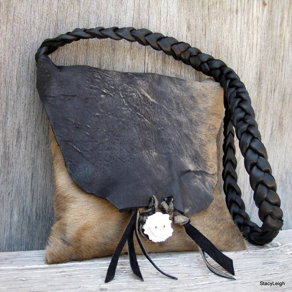 Black and Brown Hair On Acid Washed Cowhide Leather Small Bag by Stacy Leigh Ready to Ship