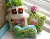 Ornaments, Stuffed Turtle, Fabric Scrap Fiber Doll - Bear, Appliqued Turtle, Cupcake Ornament, Mixed Media Fabric Animals - SALE