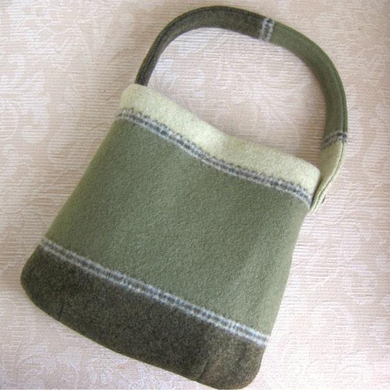 Green EMMA Handbag, Eco Friendly Upcycled Sweater Wool Purse