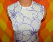 vintage 70's tank top sleeveless tee shirt ethnic boho disco poly top purple FLORAL acid trippy mod shirt Small 60s