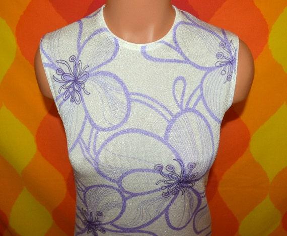 vintage 70's tank top sleeveless tee shirt ethnic boho disco poly top purple FLORAL acid trippy mod shirt Small 60s
