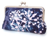 Clutch bag, pink & blue starburst, printed silk purse, fireworks, ON SALE