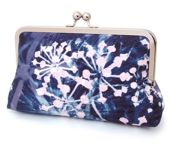 Clutch bag, pink & blue starburst, printed silk purse, fireworks, ON SALE