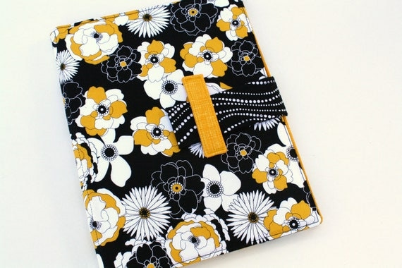 iPad case Black and Yellow floral fabric stand cover fits Ipad 2 ipad 3 case