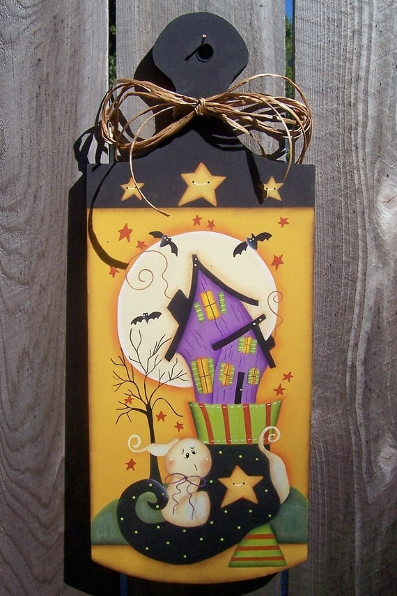 Halloween Haunted House Ghost Wood Plaque Home Decor