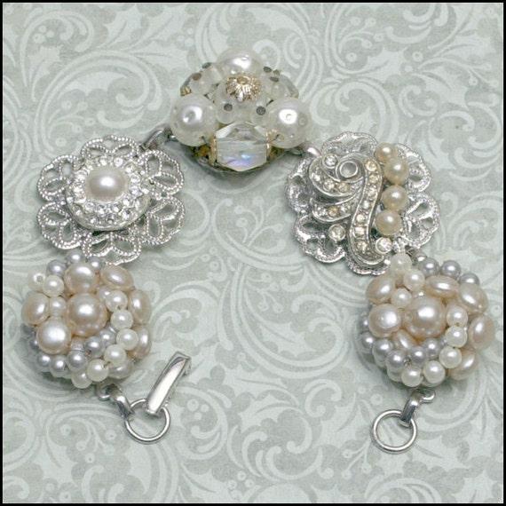 WEDDING Shades of White - Repurposed  Cluster Bead Bracelet GORGEOUS