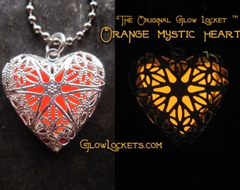 Orange Tangerine Mystic Heart Glow Locket