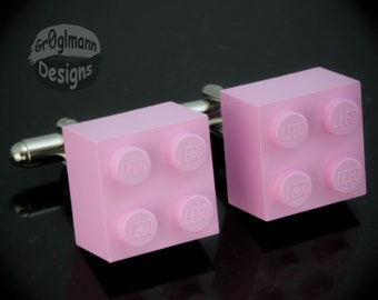 Pink Cufflinks - made with LEGO bricks