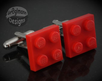 Red Cufflinks - made with LEGO bricks