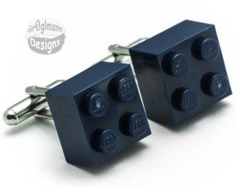 Dark Blue Cufflinks - made with LEGO bricks