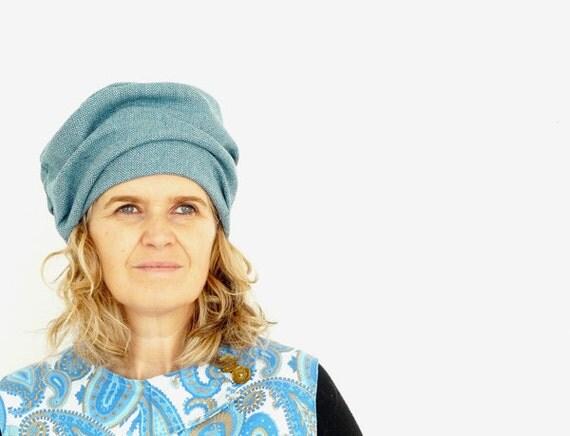 Light Blue Herringbone Tweed Wool Hat