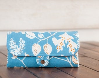 SmartPhone Purse 12x - Ultimate Wallet Clutch with ID pocket  / Leafy Summer in Ocean -- PREORDER